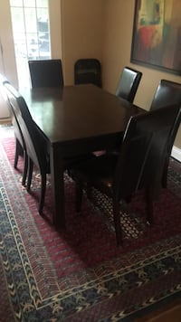 rectangular brown wooden table with six chairs dining set Cambridge, N3H 1H5