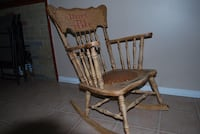 Antique Chalk Paint Rocking Chair with Leather