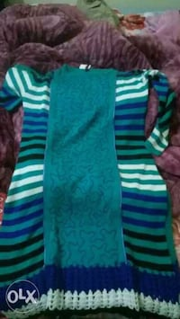 teal and black stripe long sleeve dress Kurukshetra, 136118