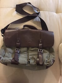 brown and grey/green leather laptop bag