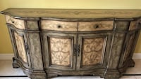Gray and brown wooden sideboard