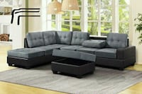 *Heights Gray/Black Reversible Sectional Houston