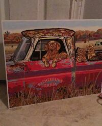 Acrylic painting old truck with dogs