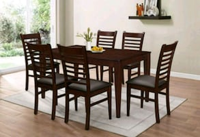 Brown Dinette set with 6 chairs ( new )