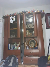 Brown Wooden Cabinet Book Case