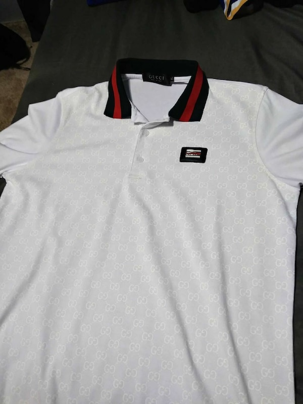 white black and red Gucci polo shirt