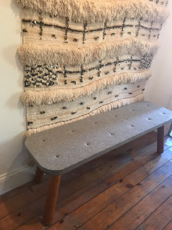 Custom handmade wood bench with felt top
