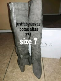 pair of size 7 gray Just Fab suede pointed toe chu Mission