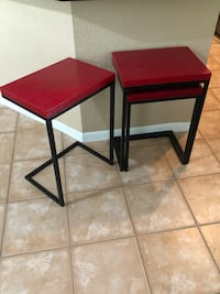 Three red side tables Tampa, 33624