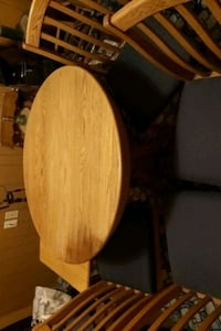 Oak round table and chairs.