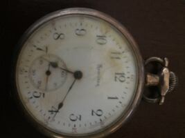 Old time Silver white round analog pocket watch