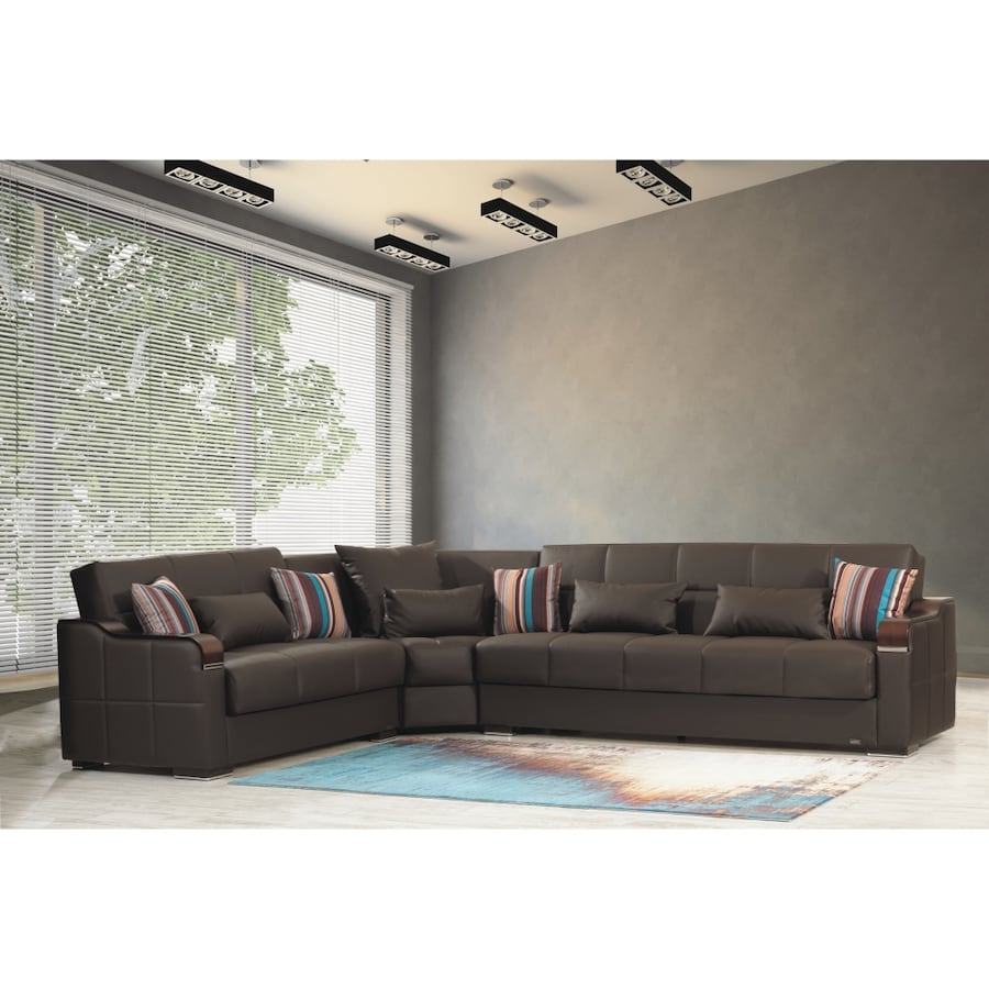 MIDTOWN REVERSIBLE SECTIONAL SOFA BED WITH STORAGE BROWN PU LEATHER