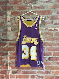 purple and yellow Lakers 34 Champion basketball jersey Vancouver, V6A 2R4