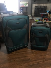 two black-and-green softside luggage bags Gretna, 70056