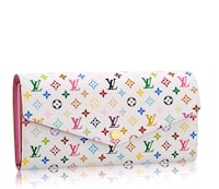 white, pink, and blue LV leather tri-fold wallet