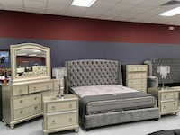 King Bellissimo Platinum Satin Silver Pearl 6pc Bedroom Collection Charlotte, 28216