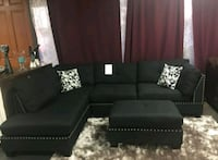 Brand New Black Linen Sectional Sofa +Ottoman  Silver Spring, 20902