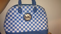 blue and white leather tote bag 29 mi