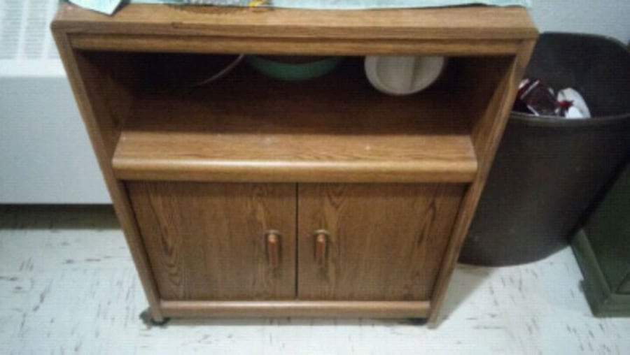 Wooden 2 door microwave stand on wheels 796be833-9c27-4304-973d-0a7755c5ff62