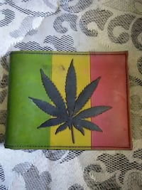 Yellow green and brown Cannabis leaf print leathe