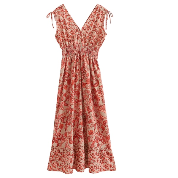 VIBEZ DOLLS V NECK FLORAL PRINT DRESS IN BEIGE 793ad2c0-d1a7-4c45-94c2-1382111c71ae