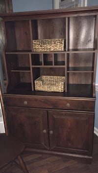 Wooden hutch/desk with wooden chair
