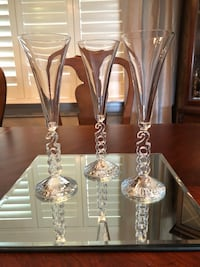3 Crystal champagne glasses set 3 year 2000 4oz capacity #crystalWineGlasses