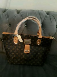 brown monogrammed Louis Vuitton leather tote bag Broken Arrow