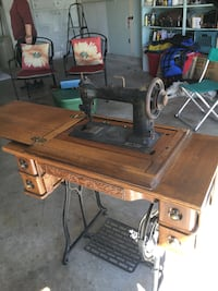 brown and black treadle sewing machine Citrus Heights, 95610