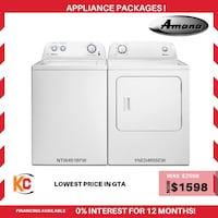 Brand new amana  washer and dryer is now at sale at vry lowest price in gta  Brampton