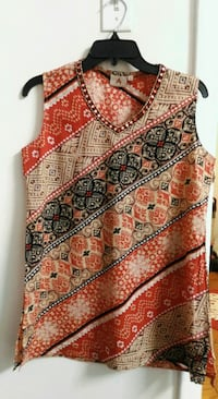 brown and black tribal print sleeveless top Rockville, 20852