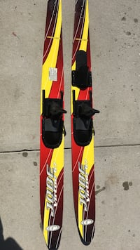pair of red-white-black Jobe Virtue 67 snow ski Calgary, T3M 1H8