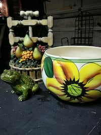 white ceramic bowl with Sunflower paint