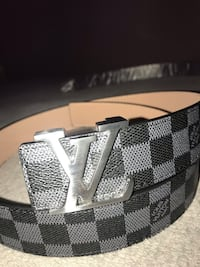 Black Louis Vuitton leather belt