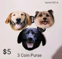 3 Dog Coin Purses with Zipper, New!! Omaha, 68110