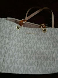 white and gray Michael Kors monogram leather tote bag Bakersfield, 93307