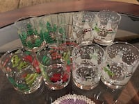 10 Christmas Holiday votive glasses or shot glasses