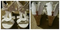 pair of white leather wedge sandals collage Bixby, 74008