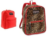 JanSport Backpack - Reversible, Red & Leopard Plush $30 Pickering, L1X 2J4