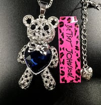 NEW Betsey Johnson Rhinestone silver live hear bear pendant with large blue crystal and long sweater chain