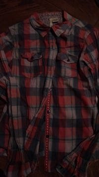 red, black, and white plaid sport shirt