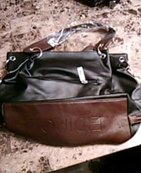 black leather 2-way bag