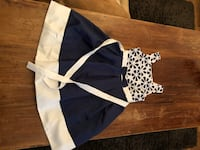 Girlls size 10 blue and white dress