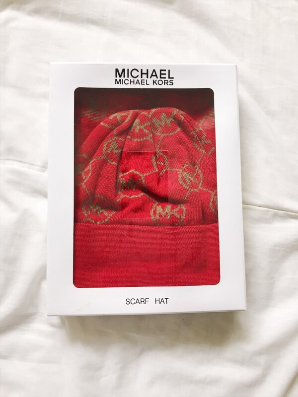 Red Michael Kors hat and scarf (brand new)
