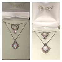 (2) Sterling Silver lab-created opal and pink sapphire necklaces Montgomery Village