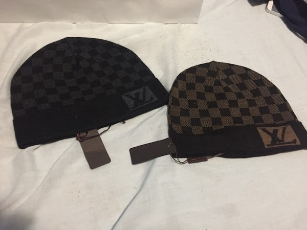 Used two Damier Ebene and Damier Graphite Louis Vuitton knit caps for sale  in New York 8176e327a3a