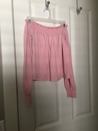 Off the shoulder pink shirt