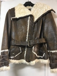 Black and gray leather zip-up jacket 793 km