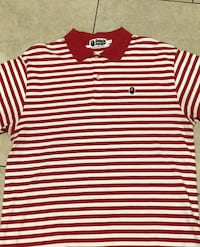 Men's XL Bape ( Bathing Ape ) Red and white striped Polo *Rare