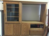 brown wooden TV hutch with cabinet Nanaimo, V9R